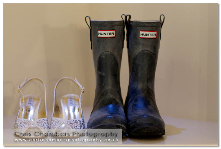 Wellies and shoes for the wedding at Hodsock Priory