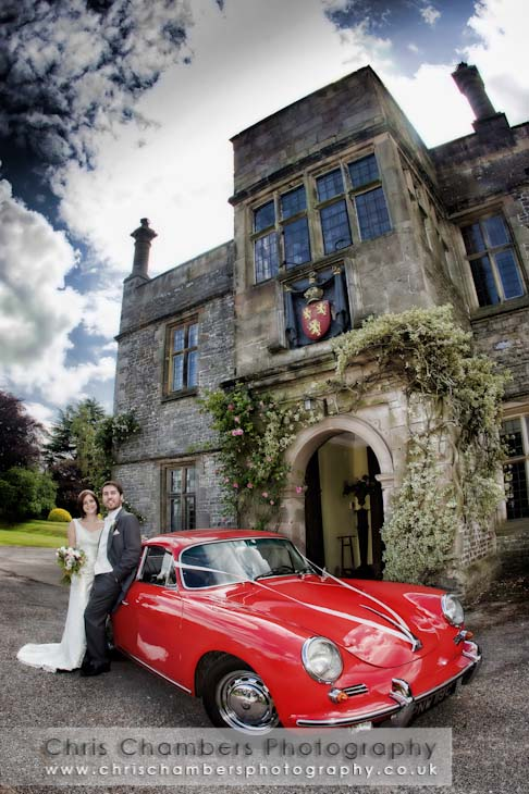 Wedding photography with a classic Porsche car. Tissington Hall weddings in Derbsyshire