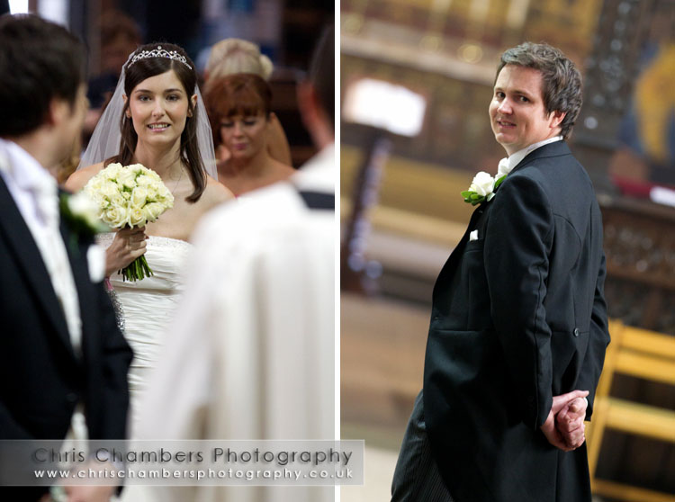 Wakefield Cathedral wedding ceremony. Wedding photography at Wakefield Cathedral from west Yorkshire and Wakefield wedding photographer Chris Chambers
