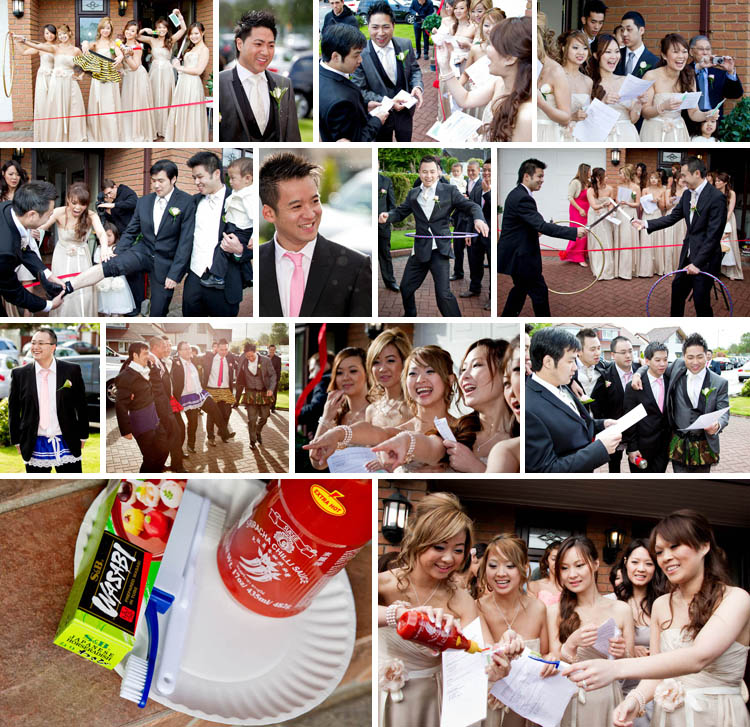 Chinese wedding games at the brides parents house. Wedding photography Chris Chambers. Leeds wedding photographers