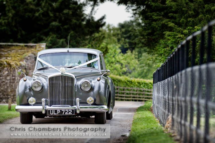 The bride arrives for her wedding at Bolton Abbey Priory