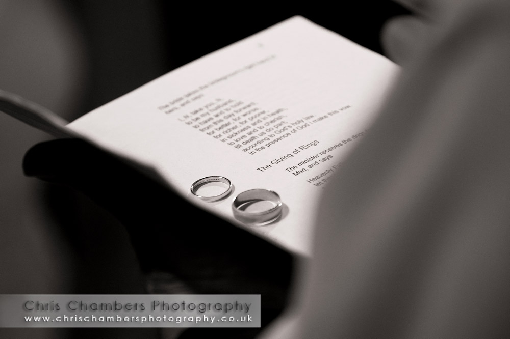 Chris and Keelie's wedding rings - photographed at St Oswald's church in Methley  - Leeds wedding photographers