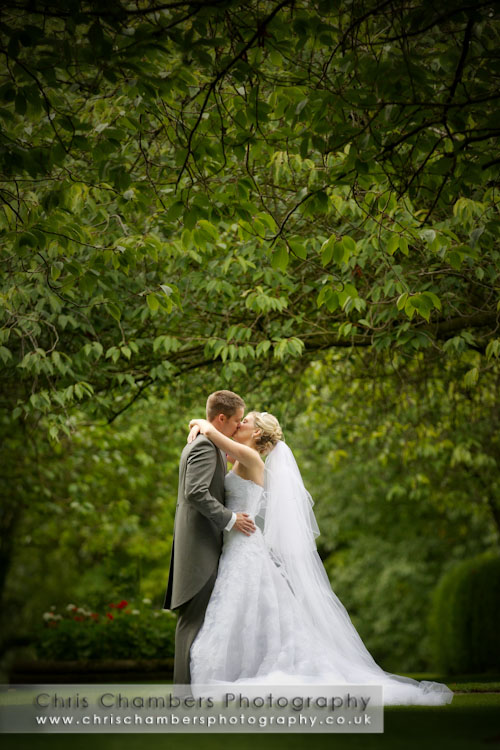 bride and groom at Hazlewood Castle wedding