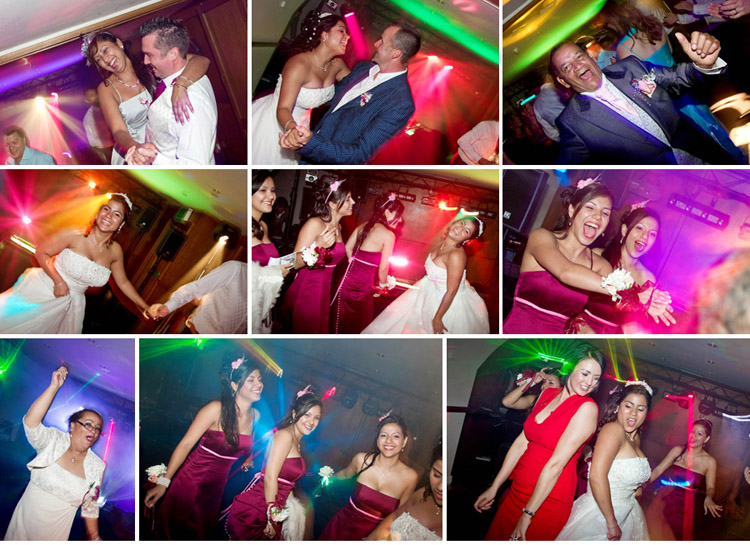 Evening wedding reception photographs at Walton Hall Wakefield