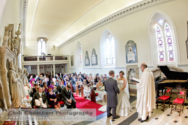 Wedding blessing in St Leonard's chapel at Hazlewood Castle - Hazlewood-castle-wedding-photographs
