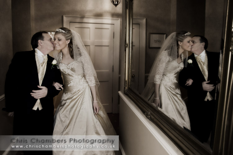 Bride and father at Hazlewood Castle near York, Hazlewood Castle wedding photograph