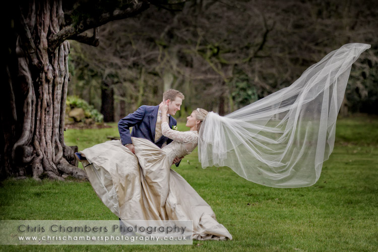 Bride and groom at Hazlewood castle near York. Wedding photography at Hazlewood Castle