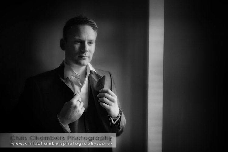 The groom getting ready for his wedding day. Groom preparation wedding photograph