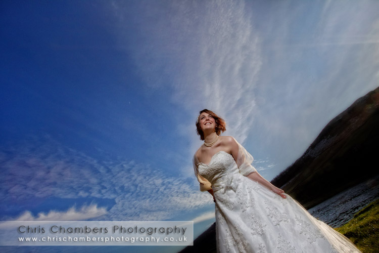 Bride on the green at Burnsall