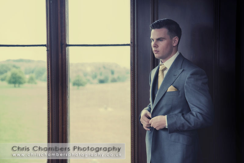 The groom getting ready for his wedding at Allerton Castle