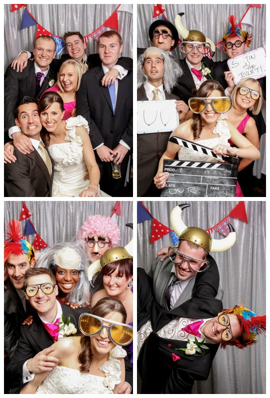 Evening photo booth fun at a wedding