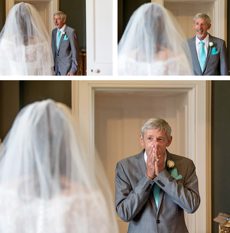 father's first look at his daughter on the wedding day