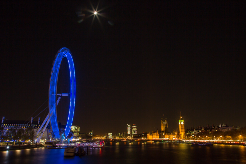 London night time photography - the London Eye at night