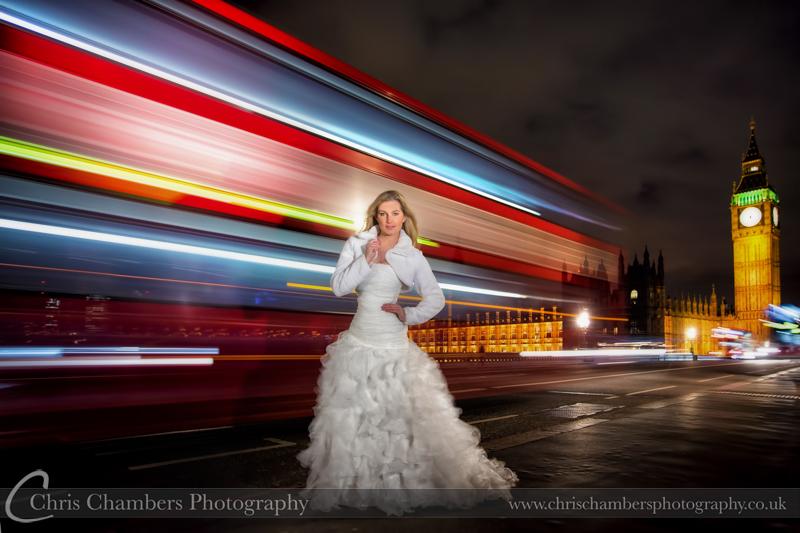 Bride on Westminster Bridge. London wedding photography