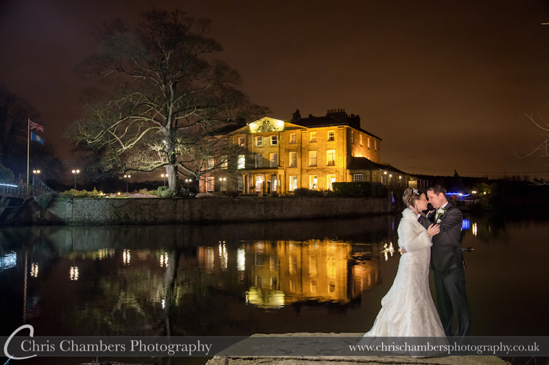Bride and Groom at night outside Waterton Park Hotel Wakefield. Night time wedding photography
