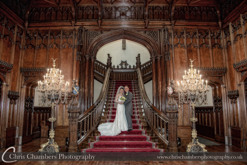 Allerton Castle wedding photos - the bride and groom on the staircase at Allerton Castle. Allerton castle photos