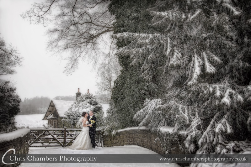 A snowy wedding photograph at Bagden Hall - Winter wedding photographs