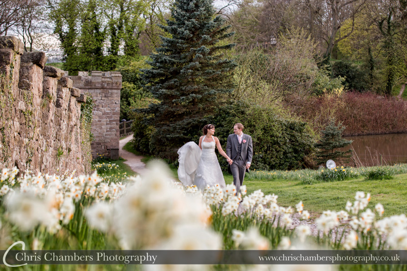 Ripley Castle wedding photography - bride and groom and Ripley Castle