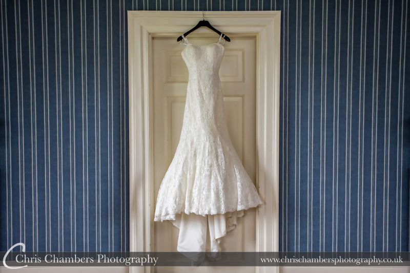 Wedding dress at Swinton Park for Mark and Mollie's wedding day. Bridal Make Swinton Park - Wedding photography at Swinton Park