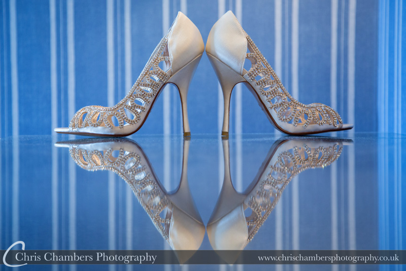 Wedding shoes at Swinton Park for Mark and Mollie's wedding day. Bridal Make Swinton Park - Wedding photography at Swinton Park