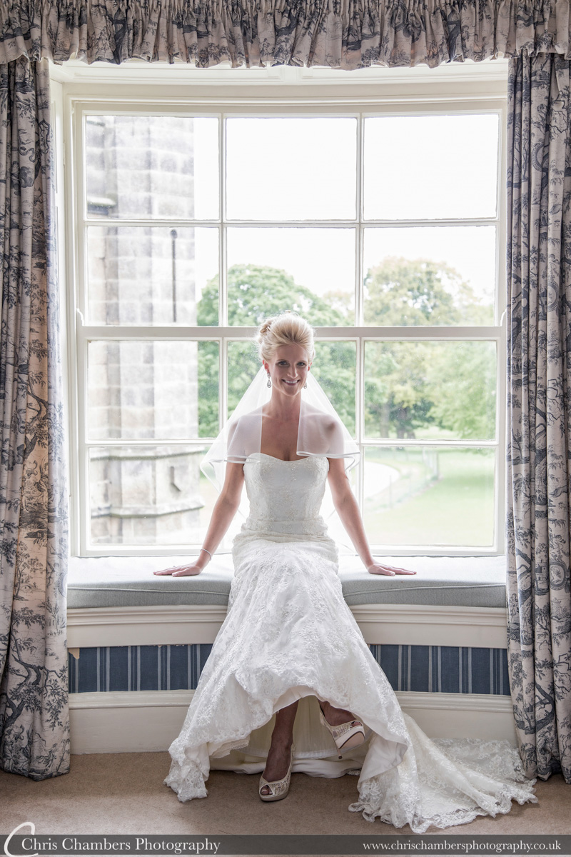 Wedding photography at Swinton Park North Yorkshire. Bride in the bridal suite at Swinton Park