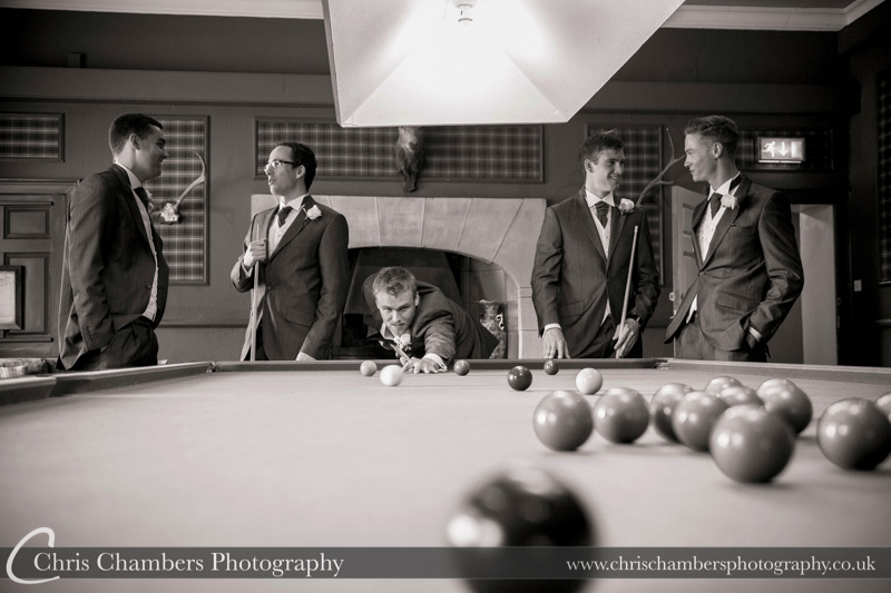 Groom and groomsmen before the wedding at Swinton park. Wedding photography at Swinton Park North Yorkshire. Swinton Park weddings