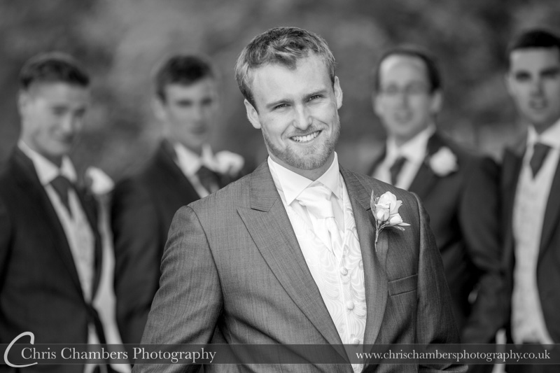 Groom and groomsmen before the wedding at Swinton park.Swinton Park weddings