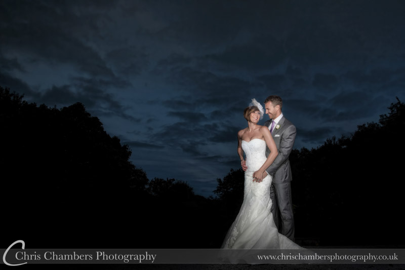 Woodlands Hotel Leeds wedding photograph of the bride and groom outside Woodlands Hotel