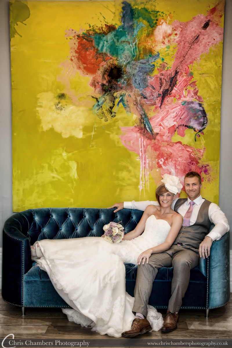 Woodlands Hotel Leeds - wedding photographs of the bride and groom inside