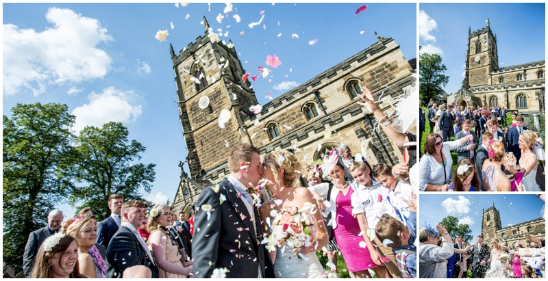 Confetti wedding photographs at Badsworth Church and Waterton Park Hotel