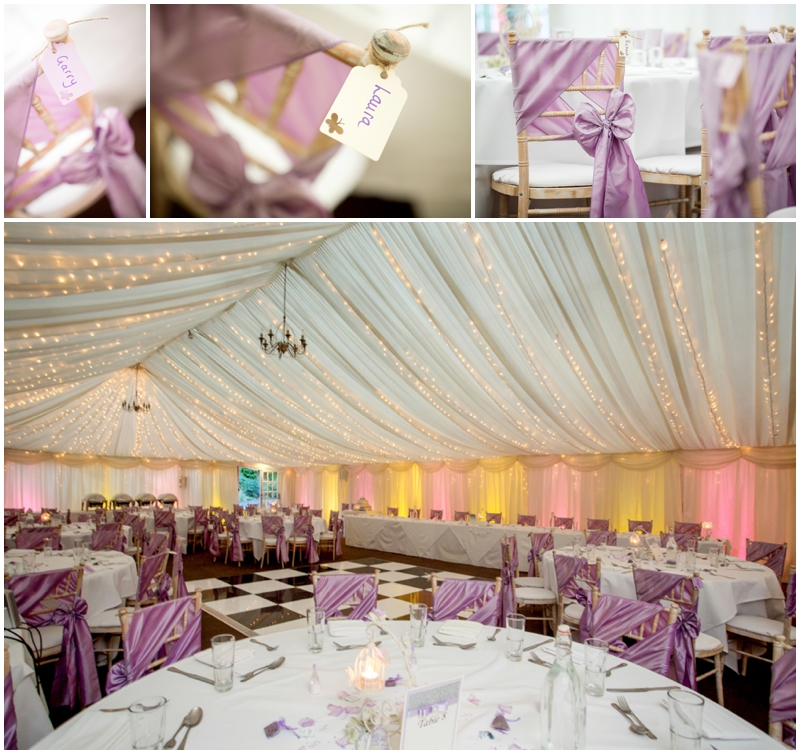 Woodlands Hotel Leeds - Marquee - inside the marquee dressed for a wedding
