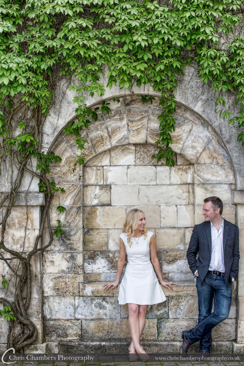Pre-wedding photo shoot at Hazlewood Castle near York. Engagement photography at Hazlewood Castle.