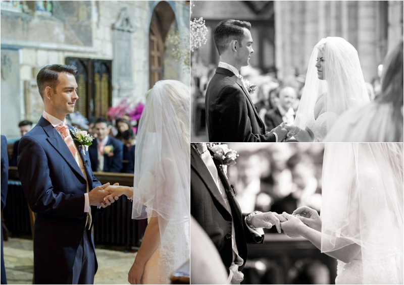 bride and groom exchanging rings during the wedding ceremony at St Mary's church in Blyth Nottinghamshire