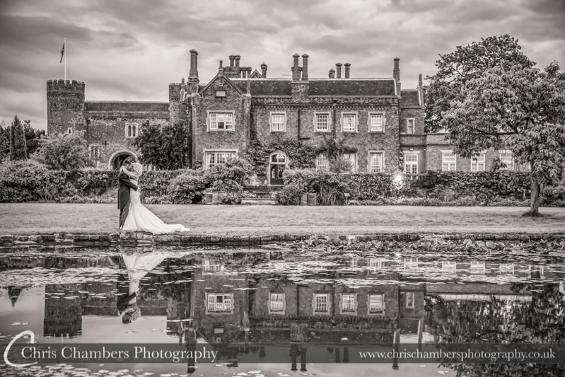 Hodsock Priory wedding photographers, bride and groom at Hodsock Priory
