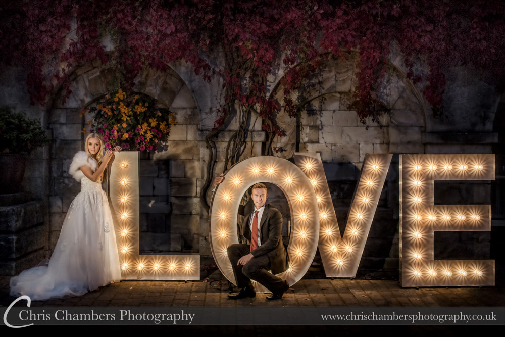 LOVE wedding letters at Hazlewood Castle at night. Chris Chambers Photography