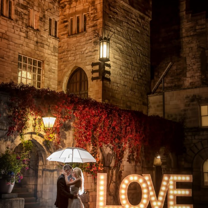 LOVE - Illuminated Wedding Letters | Hazlewood Castle photography | North yorkshire photographer