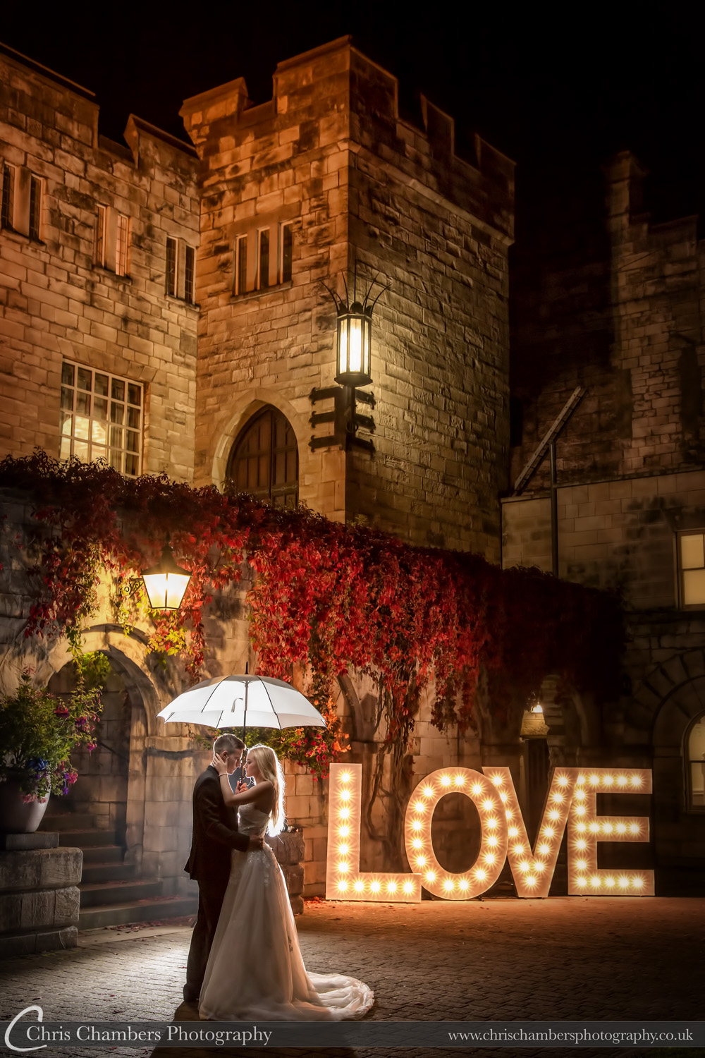 Large L O V E letters at a wedding. Wedding photography Hazlewood Castle.