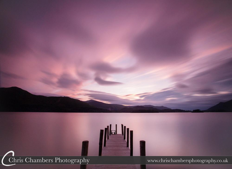 Sunset in Keswick, the Lake District. Ashness boat landing. keswick Jetty.