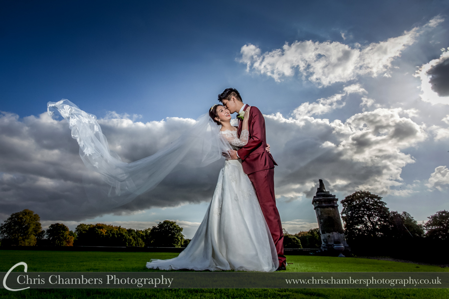 Wedding photography Carlton Towers - bride and groom on the lawn at Carlton Towers